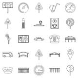 Pavement icons set, outline style Royalty Free Stock Image