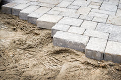 Pavement laying in a yard Royalty Free Stock Images