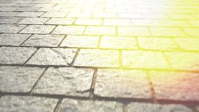 Pavement made of stone. Beautiful garden walkway. Shine of sunlight. stock footage