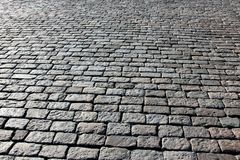 Pavement made of stone in sunlight and backlit conditions Royalty Free Stock Photo