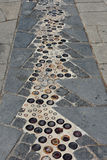 Pavement mosaic Barcelona. Pavement mosaic in Barcelona, Spain Stock Images