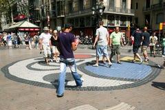 Pavement mosaic by Joan Miro, Barcelona Royalty Free Stock Image