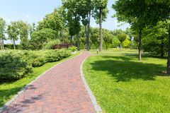 Pavement in the park Royalty Free Stock Photo