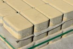 Pavement stones on market. Paving slabs store. Cobblestone on pallets. Pavement stones on market. Paving slabs store. Cobblestone on pallets Stock Photos