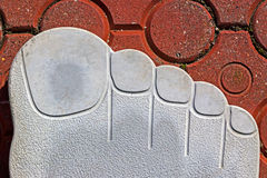 Pavement symbolizing a human outsole with fingers Stock Images
