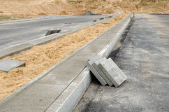 Pavement tiles sidewalk. highway road construction Royalty Free Stock Photos