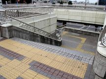 Pavement of walkway and step for blind. Stock Image