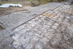 Pavement in Warsaw, Poland during repair and renovation stock photography