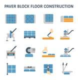 Paver block floor. Paver block brick floor and construction work vector icon set design Stock Images