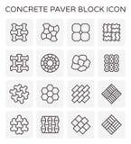 Paver block floor. Concrete paver block icon set Stock Photography