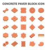Paver Block Floor. Concrete paver block floor vector icon set Stock Photo
