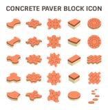 Paver Block Floor. Concrete paver block floor vector icon set Stock Image