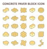 Paver block icon. Concrete paver block or paver brick vector icon set Stock Photo