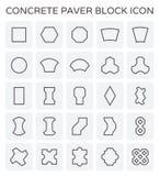 Paver block icon. Concrete paver block floor icon set Stock Photo