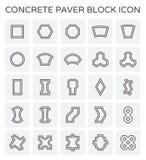 Paver block icon. Concrete paver block floor icon set Stock Photos