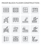 Paver block icon. Paver block floor and construction work icon set Royalty Free Stock Image