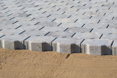 Paver bricks installing Stock Images