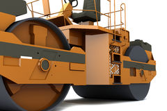 Paver machine. Orange paver machine isolated on white background Royalty Free Stock Images