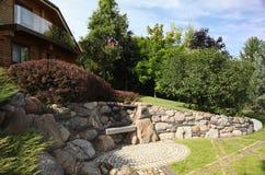 paver patio κήπων κατωφλιών λίμνη Paver κατωφλιών επισκόπηση εξωραϊσμού Patio Στοκ Εικόνα