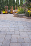 Paver Patio Garden And Landscaping Lights Stock Photography