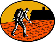 Paver Sealer Contractor House Oval Woodcut. Illustration of a paver sealer contractor sealing paving with house in the background set inside oval shape done in Royalty Free Stock Photo