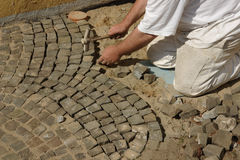 Paver at work Royalty Free Stock Photo