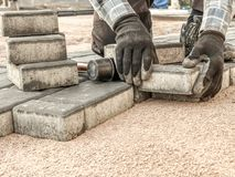 Paver at work stock photography