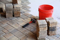 Pavers. Photo of pavers being applied to patio Royalty Free Stock Photography