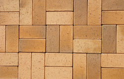 Pavers cerâmicos amarelos do clinquer de Brown do vintage para o pátio como um fundo Textured para seu texto Fotografia de Stock