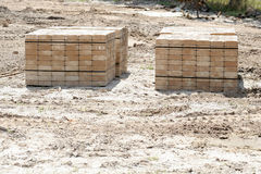 Pavers on a construction site. Shot of a pavers on a construction site straight Royalty Free Stock Image