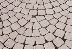 Pavers in fan shaped layout. Paver background in fan shaped arcs Stock Photos