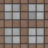 Pavers quadrados Brown-cinzentos do tijolo Textura sem emenda Fotos de Stock