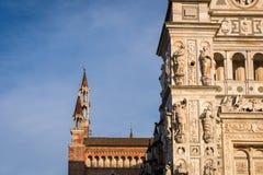 Pavia Carthusian monastery facade details left side. Stock Photography