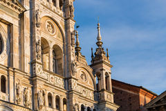 Pavia Carthusian monastery facade details right side. Stock Photo