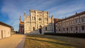 Pavia Carthusian monastery at sunset Stock Image