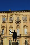 Pavia city hall and statue Royalty Free Stock Images