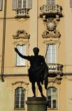 Pavia city hall and statue Royalty Free Stock Image