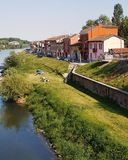 Pavia Borgo Ticino river. Pavia city in Milan Royalty Free Stock Photo