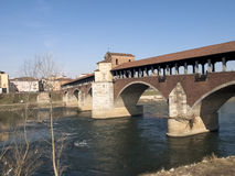 Pavia, covered bridge over the river Ticino Royalty Free Stock Photography