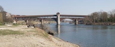 Pavia, covered bridge over the river Ticino Royalty Free Stock Photos
