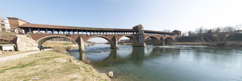Pavia, covered bridge over the river Ticino Stock Photography