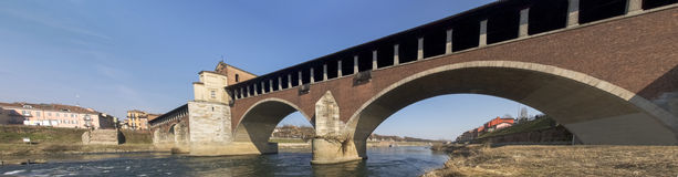 Pavia, covered bridge over the river Ticino Royalty Free Stock Photos