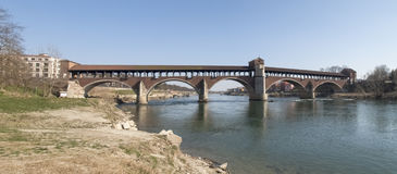 Pavia, covered bridge over the river Ticino Royalty Free Stock Image
