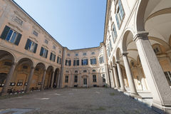 Pavia, historic palace. Pavia (Lombardy, Italy) the historic Palazzo Olevano royalty free stock photos