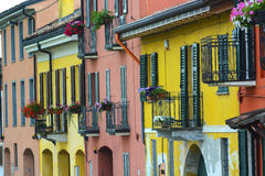 Pavia (Italy): colorful houses Royalty Free Stock Photo