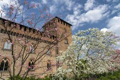 Pavia, Italy: the medieval castle at spring stock photo
