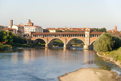 Pavia (Lombardy, Italy). And the covered bridge over the Ticino river Royalty Free Stock Photos