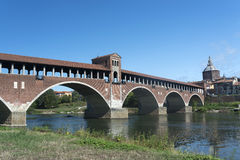 Pavia (Lombardy, Italy). The famous covered bridge over the Ticino river Royalty Free Stock Photography