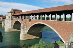 Pavia, particular of the bridge. The new-bridge of the adda river at Pavia Royalty Free Stock Photo