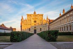 Pavia stänger sig den Carthusian kloster och trädgårdar upp royaltyfri bild